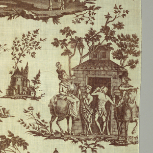 Dark reddish-brown print on white ground. Three large vignettes showing scenes from the chase with numerous background figures. First vignette of figures on horseback jumping fence. Second vignette, figures in front of inn. Third vignette, the kill. Printed by Lafosse, Lionnet et Medard.