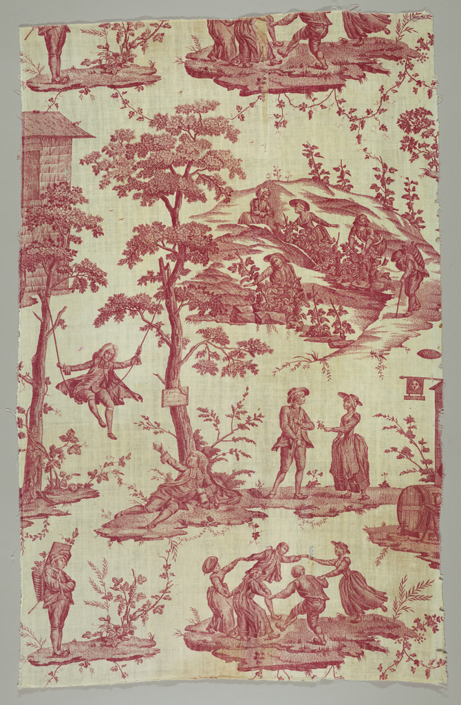 Panel of cotton printed in red showing a design of women harvesting grapes; country folk dancing and courting; a  man in a swing with another on the ground holding a bottle.