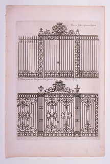 Two designs for ornate gates pictured on top and bottom of design. Both gate designs have ornate iron tracery work.