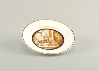 Circular, with scene painted in center in sepia colors showing ancient Roman soldier on horse with burning ramparts in background; thin black border around scene and around outer rim of plate
