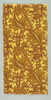 Yellow wool printed in large scale floral and foliage pattern in two shades of brown outlined in dull red. Liberty tag attached. Pattern shows influence of William Morris.