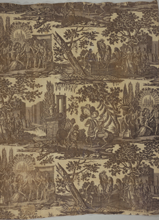Two scenes of courtiers and the King. In purple which has faded to brown.