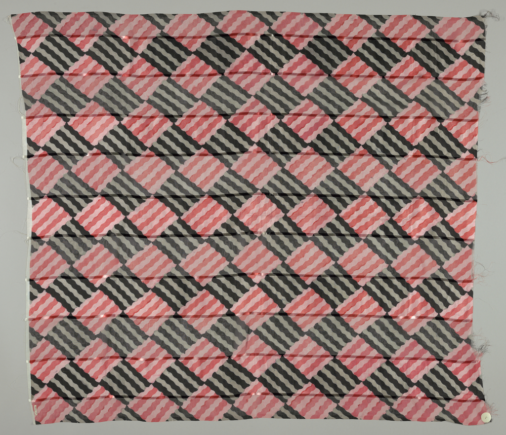 Five samples with broad vertical stripes of alternately loosely and closely woven plain cloth, printed with diamonds of wavy lines alternating light and dark shades of the same color. Both selvedges present on all samples.