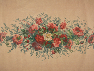 Fabric intended to be made up as a window shade. Centered pattern of poppies, peonies and bleeding heart.