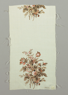Sample has a white ground printed with a widely-spaced repeat of floral bouquets in shades of brown and orange with minor details in black.