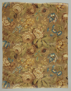 "Group of natural scale flowers filling and falling over full width of fabric including rose, tulip, fichsia, morning glory. Muted colors on a tan background. Height of repeat: 41 cm (16 1/8"")"