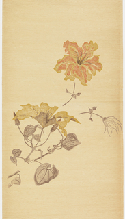 One panel from a mural set. Large-scale clematis flowers with foliage. Orange and tan flowers on stem, starting at lower left corner and going up to top right corner. Printed on tan background.