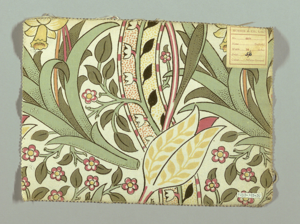 Large-scale floral design in pink, orange, yellow, gray-greens and dark green outlines on a white ground. Double warps.