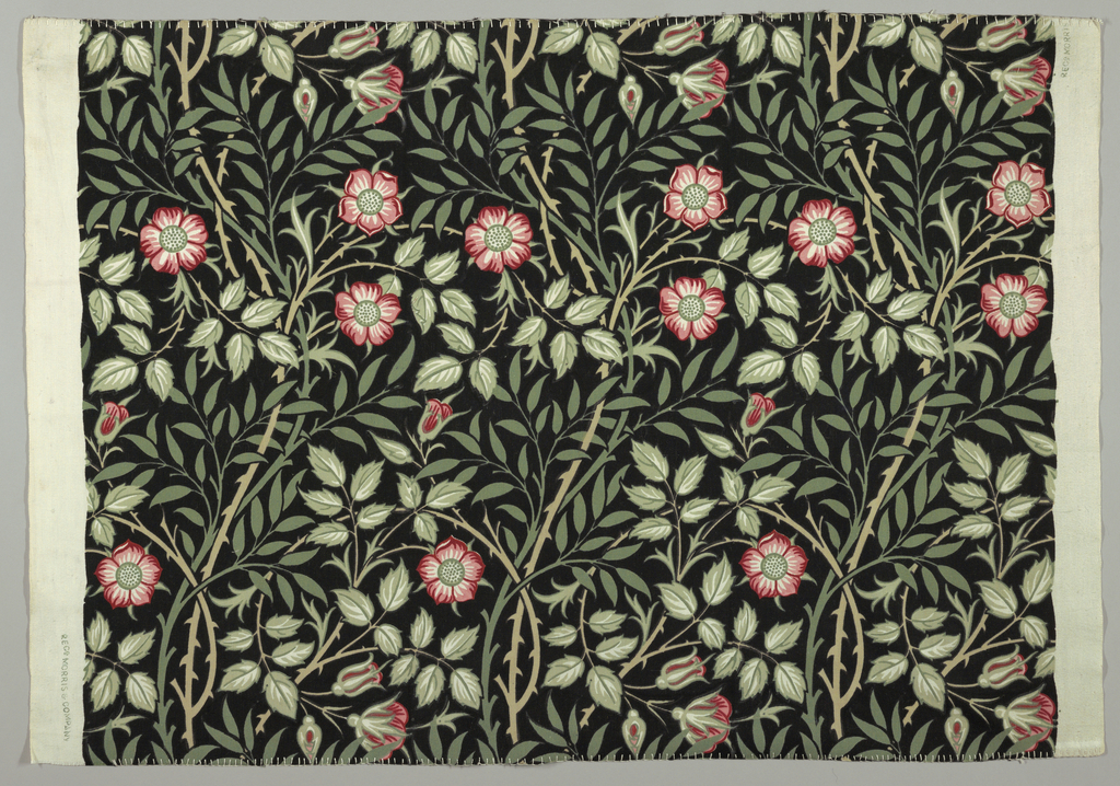 Gently curving branches with pink flowers and a dense leafy ground, in shades of pink, green and tan on black field.