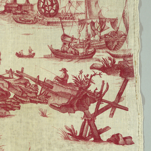 Classical ruins, fishermen with nets and assorted boats in red on white. Condition poor.