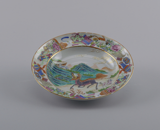 -a: boating scene with floral and insect decoration on rim -b: animal scene with scroll and urn decoration on rim