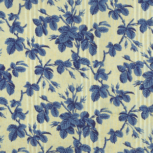Pattern of moss roses printed in blue on neutral background with stripes and stippling