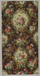 Cartouches of flowers on a brown, mossy background. Roses, anemones, ferns and cineraria. A large number of small blocks were used.