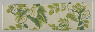 Large-scale pattern of decorative leaves and flowering branches in two shades of green on a white ground.