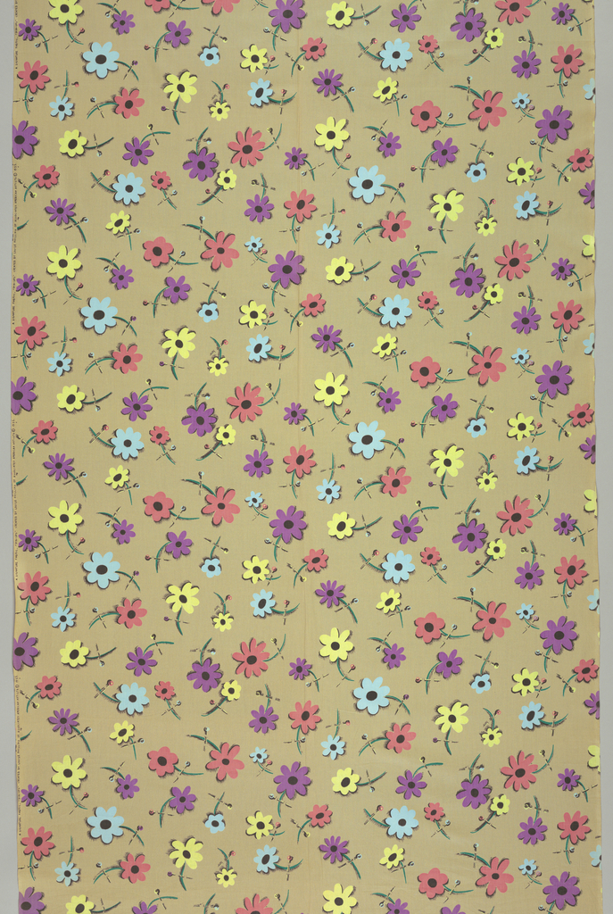 Print of stylized blue, pink, yellow and violet flowers that are held in place by straight pins on a tan background.