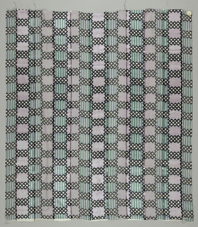 Five samples. Broad vertical stripes of alternately loosely and closely woven plain cloth, separated by narrow satin stripes. Printed with narrow vertical stripes and blocks of interlacing lattice work. Both selvedges present on all samples.