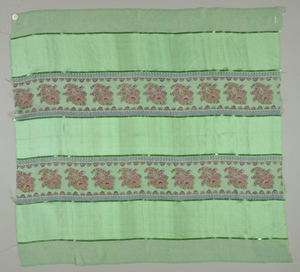 Eleven samples with broad vertical stripes of alternately loosely and closely woven plain cloth, separated by narrow satin stripes. Over the sheer stripes is printed a column of paisleys in many colors, with guard borders of minute paisleys. Both selvedges present on all samples.