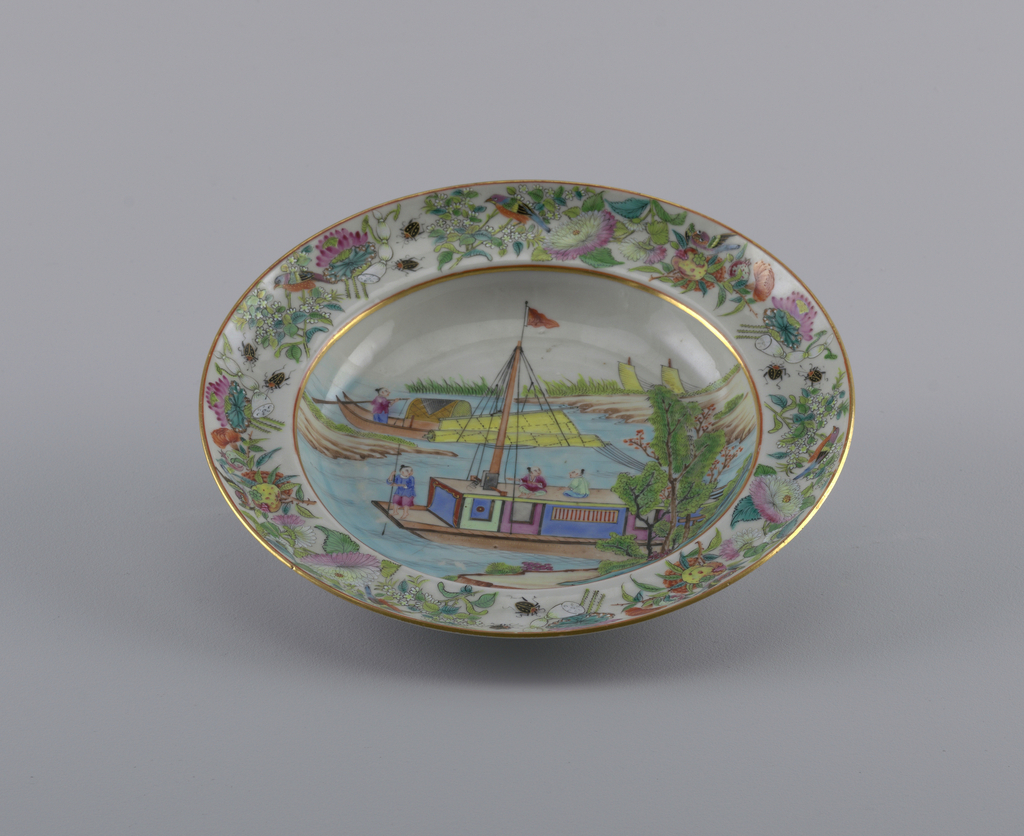 boating scene with floral and insect decoration on rim