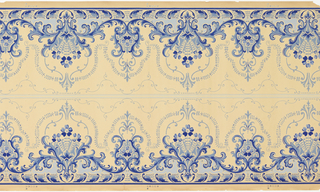 Printed two across. Floral medallion printed in two shades of blue on ungrounded paper