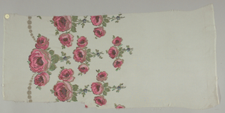 Sample in sheer solid off-white silk with a deep border design of pendant sprays of roses, printed in shades of reddish-pink with green leaves and brocaded with gold thread. Both selvedges present.