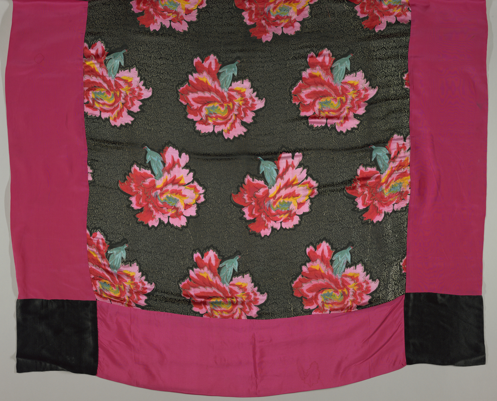 Square scarf with plain red silk crepe borders and black silk satin squares in each corner sewn to a ground fabric patterned with rows of naturalistically mainly red blossoms in alternate alignment, facing left in one row and right in the next. On a black background covered with small silver triangles.
