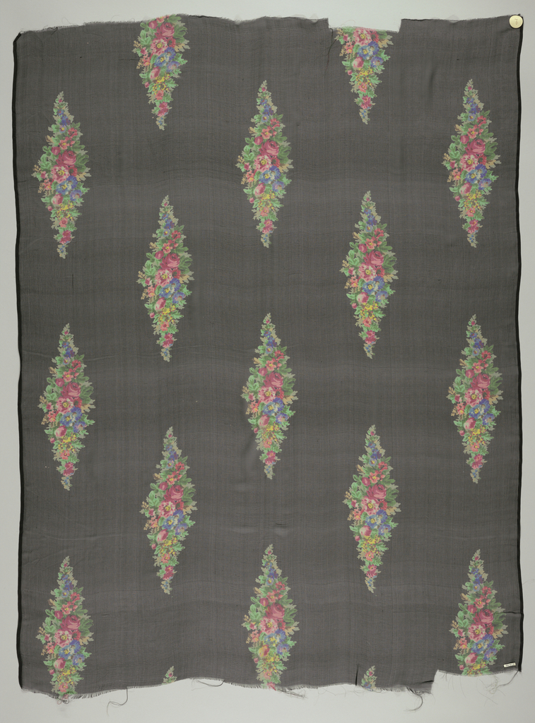 Black ground with staggered vertical repeat of small-scale polychrome flowers arranged in lozenge form. Both selvedges present.
