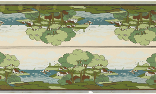 Printed two across. Landscape frieze with harbor view, boats, and lighthouse. Houses and trees on island or peninsula.
