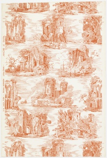 Random arrangement of landscape views showing ruined churches, castles, and abbeys designed in the style of a toile. Human figures and animals appear in many of the scenes. Printed in red on white ground.