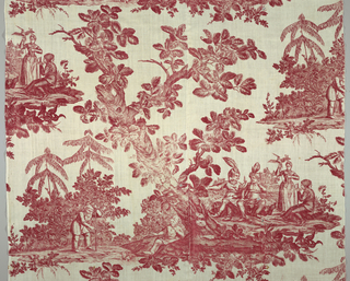 Scenes of people among foliage in red ink on white fabric.