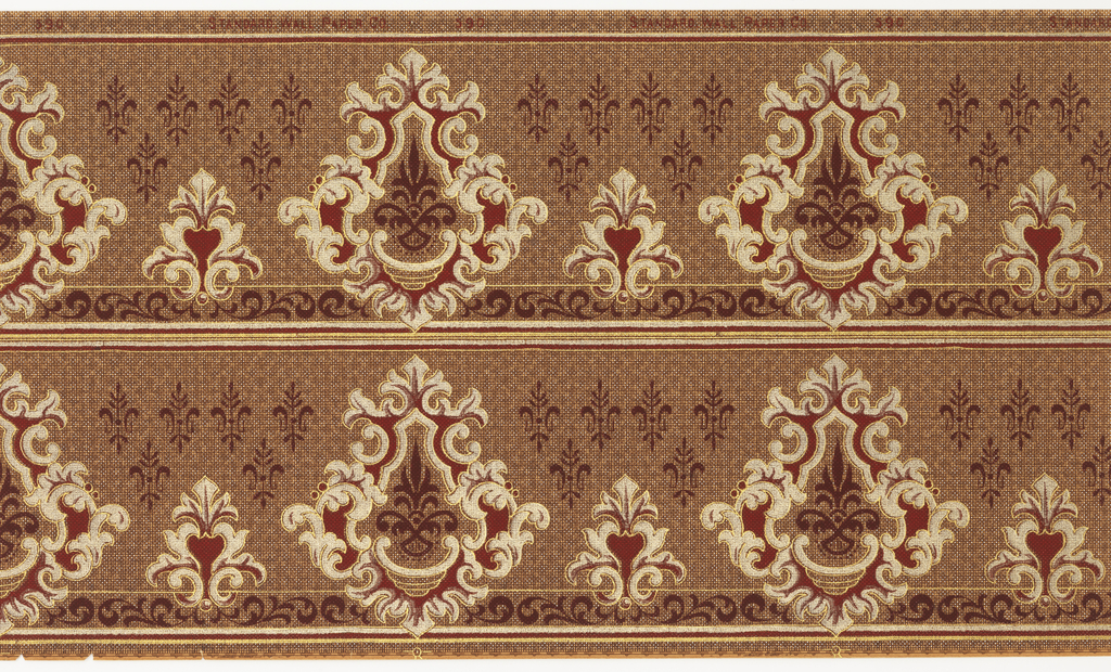 Printed two borders across the width. Alternating large and small medallions. Petite stylized floral mtofis in upper background. Printed on checkered or mottled background.