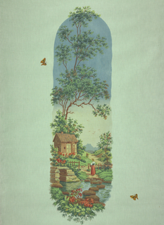 Fabric intended to be made up as a window shade. Design in the shape of an elongated oval showing a woman in a rural setting. Polychrome.