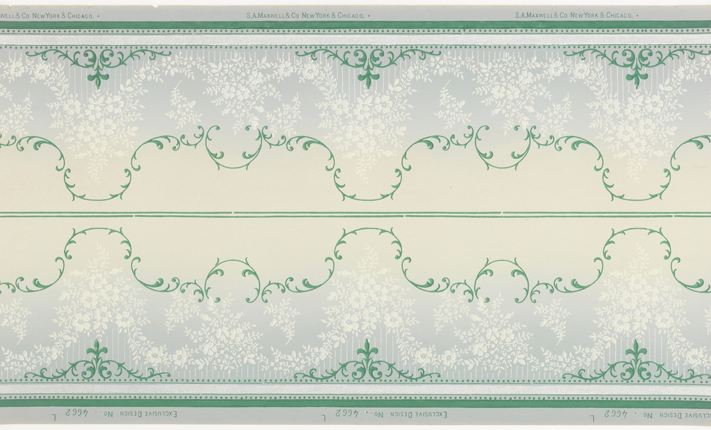 Printed two across. White floral swags centered between two bands of blue foliate scrolls. Background shades from blue at bottom to light yellow/gray at top.