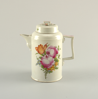 Cylindrical with rounded shoulder; short spout; flat strap handle, rectangular, with simulated screw heads; cover cylindrical, with rectangular strap handle, and pierced with three round openings. Overglaze polychrome decorations of roses and other flowers.