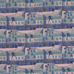 A stylized print of workers in a field with hay stacks. Pink, blue, black and turquoise on gray.