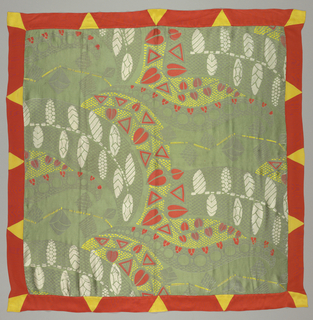 Large-scale woven bizarre-type pattern of flat stylized leaf forms and snake-like serpentines filled with small geometric forms in olive green and silver metallic thread is overprinted in scarlet, yellow and white. Bordered by scarlet silk border with triangular yellow inserts.