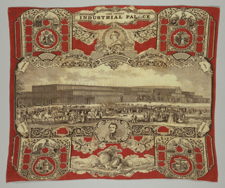 Central scene of the Crystal Palace with portraits of Queen Victoria and Prince Albert and with figures representing Europe, Asia, Africa and America. In red and black on white. Would have been a souvenir of the Great Exhibition of 1851 in London, England.