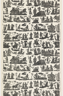 "a) On a white ground small groups of figures and/or animals in horizontal rows of ""island"" scenes illustrating rural activities and pastimes of early eighteenth century Germany. Printed to simulate a woodblock impression. Straight match, straight repeat. b, c, d) Negative impressions of the same design printed in b) light red, c) gray and d) light blue."
