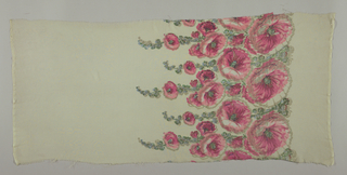 Sample of off-white georgette crepe has a wide printed border of pink hollyhocks and blue-green leaves with brocaded silver thread details.