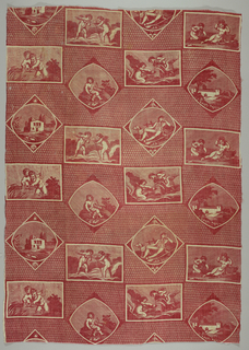 Eight different scenes – two architectural, four with paired putti, one religious and one a contemporary youth – set within frames on an allover triangular background in red on white.