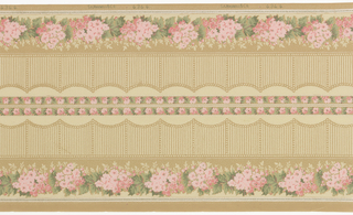 Printed two across. Band of bright pink floral bouquets across bottom. Scalloped striped band above, having appearance of decoartive fence. Plain tan background above.