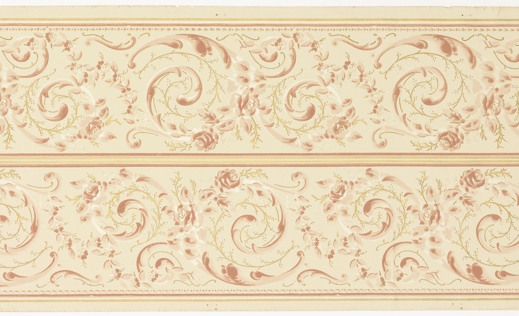 Printed two across. Floral and foliate scrolls linked together appearing like rinceau design.