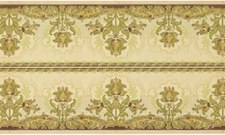 Printed two borders across the width. Stylized tulip motifs, group of three alternating with single tulip. Scrolling framework above and below.