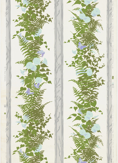 Rustic columns with ferns, moonflowers (?) and butterflies.