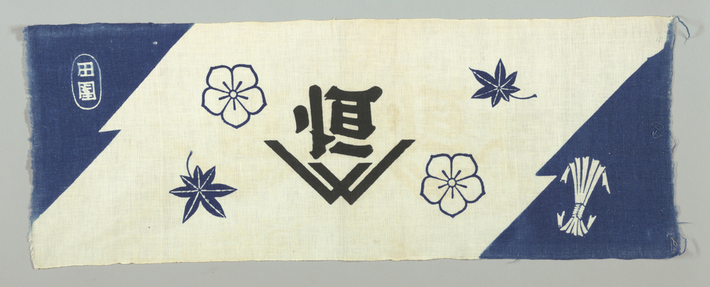 Narrow panel fragment printed in blue and black on a white ground showing Japanese characters in the center with four conventionalized leaves and flowers. Ends are blue with symbols in white.
