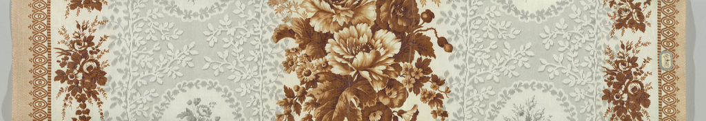 White cotton decorated with fancy broad stripe in grey, with design (incomplete) of flower clusters in circular foliage framed and white foliage. Center wide srtipe of flowers in shades of brown, borders at each side of brown flower clusters and fancy edge. Ground effect probably by molette.