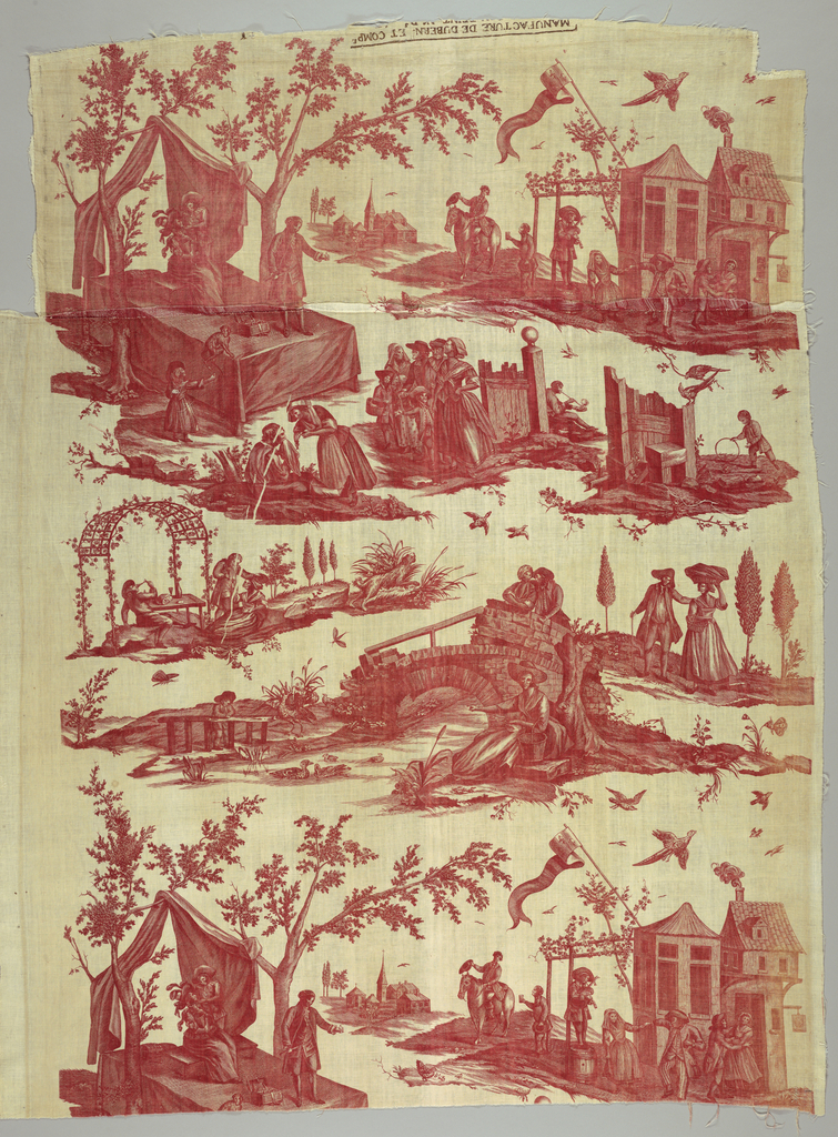 In red on white background a series of pastoral scenes the principal ones being a merchant of patent medicine on a platform and a couple dancing in front of an inn.