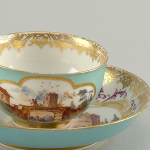 Cup and Saucer with Seaport Scenes Cup And Saucer