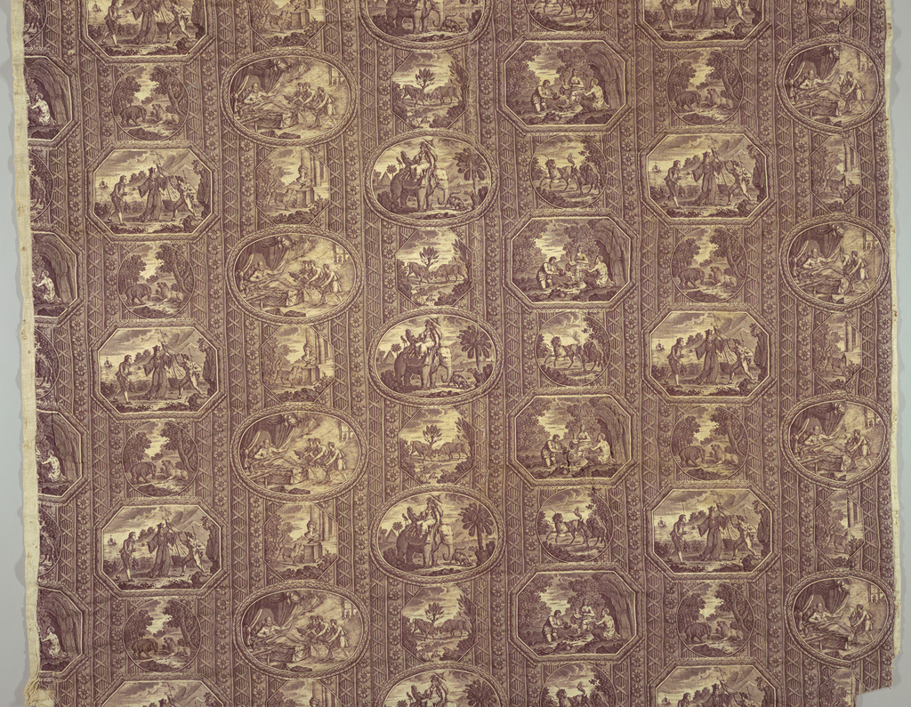 Eight different framed 'pictures' each illustrating one of the Fables of la Fontaine. Each scene is captioned in French. Some of the titles on the textile have changed from the de la Fontaine title. Sepia on white. Mounted on linen plain weave, stuffed and quilted.