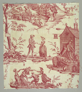 Panel of cotton printed in red showing a design of women harvesting grapes; country folk dancing and courting; a man on the ground holding a bottle and a man beating a drum in front of an inn, with vessels of wine around him.