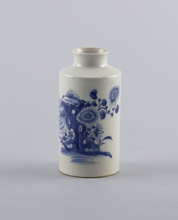 club shape cylindrical vase, with peony, rocks and butterflies in underglaze blue on a greyish white, fine-crackled, soft- past ground